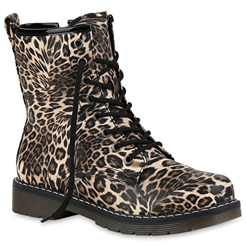 Damen Schuhe Stiefeletten Worker Boots Outdoor Stiefel Lack Prints Schuhe 155097 Leopard 40 | Flandell® (Stiefel Print Leopard)