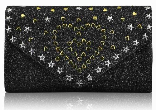 Glitter Schwarz Abend Herzen TrendStar Party Unterarmtasche Sterne Metall Damen 1qPzwt