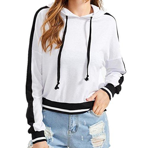 WOCACHI Damen Bluse Frauen Straße Mode Hülsen T-Shirt Loch reine Farben hübsche Blusen Tops Streetwear (XL/38, (Kostüm Basic Mädchen Weiße)