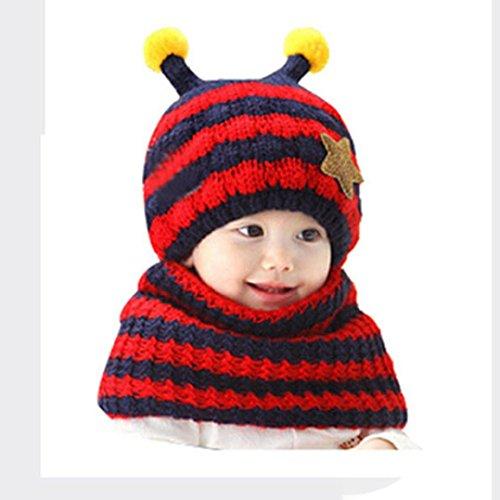 Babybekleidung Hüte & Mützen Longra Niedliche Winter Baby jungen und Mädchen Kleinkind Bee entwerfen wolle Hut Kapuzen Schal Ear Flap Hüte Mützen (Red)