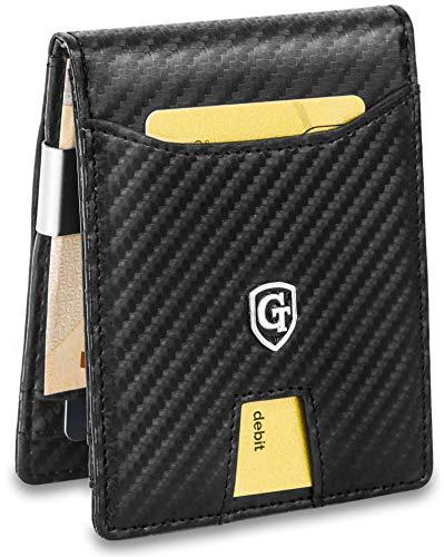 GenTo® Herren Designer-Geldbörse Singapore mit Geldklammer und Münzfach - TÜV geprüfter RFID, NFC Schutz - erhältlich in 5 Farben | Design Germany (Carbon) -