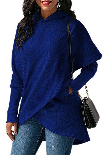 Donna Maniche Lunghe Felpe con Cappuccio Moda Asimmetrico Orlare Pullover Sweatshirt Hoodie Outwear Tops Blu scuro