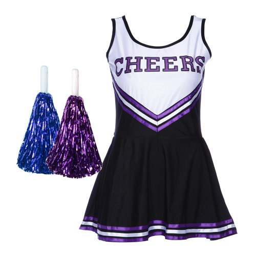 CWLN007 COLLEGE SPORTS Black High School Cheerleader Ladies Girls Fancy Dress Costume Outfit Size L With POM POM
