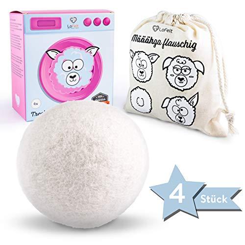 LoFelt® Trocknerbälle für Wäschetrockner - Natürlicher Weichspüler - für Daunenjacken geeignet- Daunen Trockner - 100% Schafwolle - schneller trocken (4 Stück, Filz, weiß)