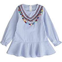 Vestido para Bebés, K-youth® Ropa Bebé Niñas Vestido Princesa Niña Vestido de manga larga a rayas de viento Nacional Femenino Vestidos Fiesta Niñas 2018 Barata