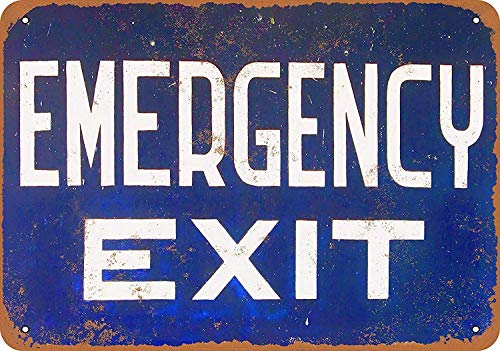 Emergency Exit Targhe in Metallo Parete Segnale di Avvertimento Giardino Bar Poster Vintage Figura Band Tema Matrimonio Regalo di Nat