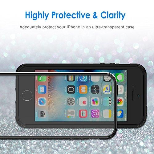 iPhone SE Hülle, JETech Ultra Slim Fit iPhone SE 5s 5 Hülle Tasche Schutzhülle Case Cover Bumper Transparent Back Anti-Kratz Zurück für Apple iPhone 5 5s SE (Rose Gold) - 0427 Schwarz