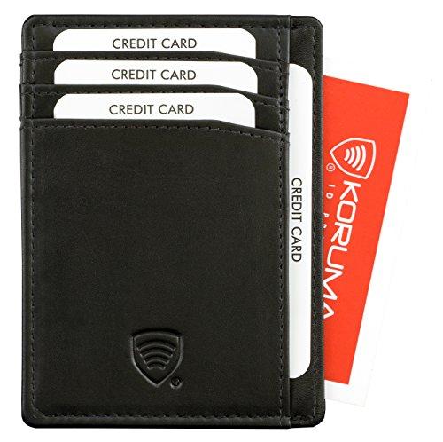 KORUMA RFID protégé - bourse de portefeuille de cuir pour les pantalons pour hommes ou veste poches Porte-cartes de crédit - TAP&GO - finition de haute qualité - permet d'utiliser Pass Navigo (63SNBL)