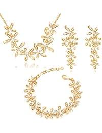 MARENJA Cristal-Conjunto de Collar Pendientes y Pulsera Mujer Flores Chapado en Oro Cristal