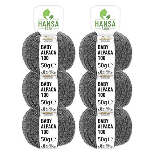 100% Alpakawolle in 50+ Farben (kratzfrei) - 300g Set (6 x 50g) - weiche Baby Alpaka Wolle zum Stricken & Häkeln in 6 Garnstärken - Dunkelgrau (Grau)