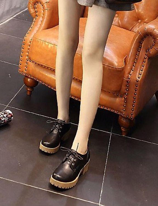 NJX/ hug Zapatos de mujer-Tacón Robusto-Comfort-Oxfords-Exterior / Oficina y Trabajo / Casual / Deporte-Piel Sintética-Negro...