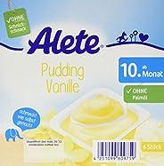 Alete Dessert Pudding Vanille, ungekühlt haltbar, ohne künstliche Aromastoffe & Palmöl, für Kinder ab dem 10. Monat, 400 g