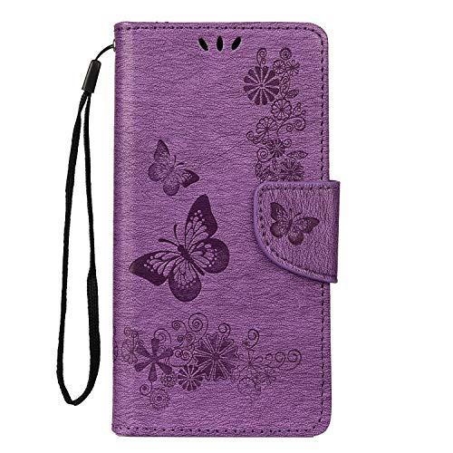 LEMORRY Hülle für Samsung Galaxy A20e Ledertasche Flip Leder Brieftasche Slim Magnetic Schutz Soft Closure Silikon TPU Hülle Galaxy A20e / A202F Hülle, Lucky Purple Butterfly
