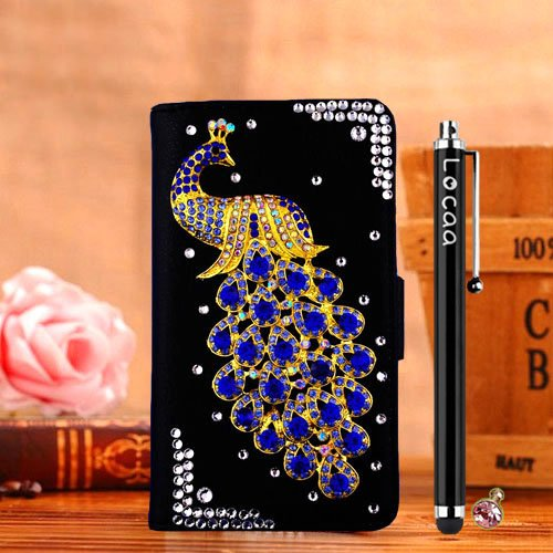 """Locaa(TM) For Apple IPhone6S IPhone 6S 4.7"""" 3D Bling Paon Case + Stylet tactile + Bouchons poussière Deluxe Crystal Pearl diamant strass étuis Belle Housse rétro card holder protective cuir Cases - [S étui noir - paon bleu foncé"""