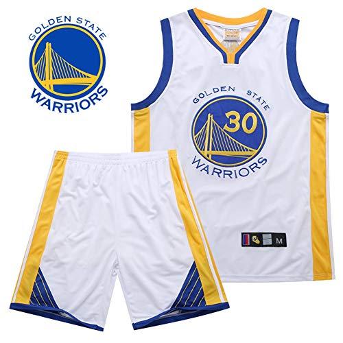 TGSCX NBA Trikots Set - Stephen Curry # 30 Golden State Warriors, Komfortabel/Leicht/Atmungsaktiv Besticktes Netz Sport T-Shirts/Shorts (S ~ 3XL),White,M - Jordan Bestickt Shorts