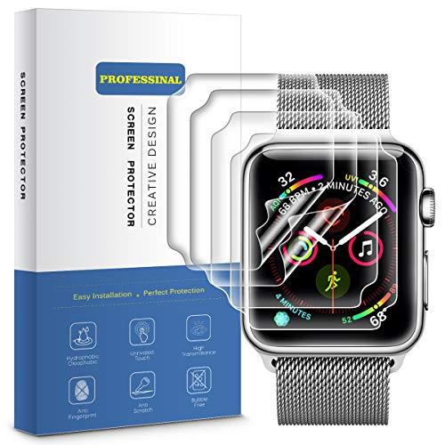 VANZEV Schutzfolie für Apple Watch 44mm Series 4 [4 stück] Vollständige Abdeckung TPU Displayschutz Folie [kein Vergilben & kein Ablösen] Apple Watch Series 4 Blasenfreie Displayfolie