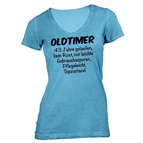 Damen T-Shirt V-Ausschnitt - Oldtimer Geburtstag 43 Jahre - Birthday 43 Years Fun Geschenkidee Hellblau