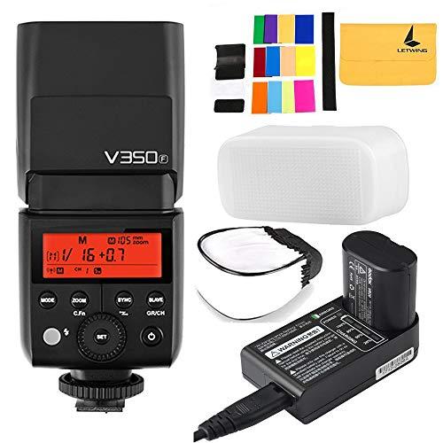 Godox V350F TTL 2.4G Kamera Flash mit Akku 7.2V/2000mAh Lithium-Akku für Fuji Kamera GFX50S X-Pro2 X-T20 X-T2 X-T1 X-Pro1 X-T10 X-E1 X-A3 X 100F X100T Fujifilm Kamera
