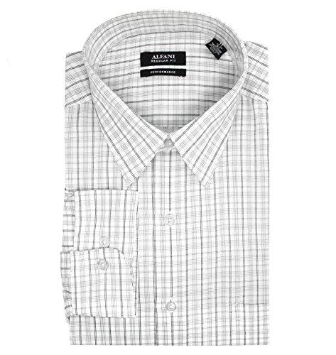 Alfani Men's Fitted Performance Dobby Check Dress Shirt; White, Black (17 x 32-33) (Alfani Mens Dress)