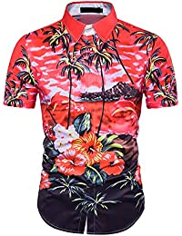 Pinkpum Mens Hawaiian Shirt Short Sleeve Floral Beach Summer Holiday Palm Tree Fancy Hawaii Dress S-XXL