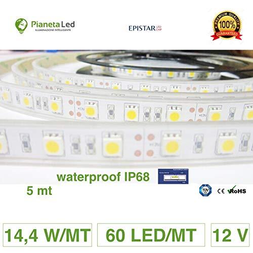 Rouleau 5 mètres bande 300 LED 5050 SMD Warm White 5 mt lumière blanche chaude pour usage extérieur étanche iP68 pour plongée