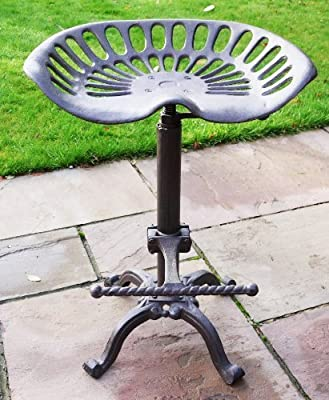 Brown Bar Stool Vintage Cast Iron Tractor Style Seat Adjustable Kitchen Garden