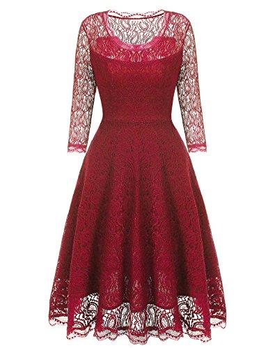 Beyove Vintage Damen Kleid Spitzenkleid Cocktaikleid Festlich Partykleid Abendkleid knielang...
