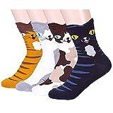 LHZY Frauen Mädchen Socken 4 Pack, Spaß Coole Katzen Cartoon Süße Tier Design Baumwollmischung Crew Over Knöchel