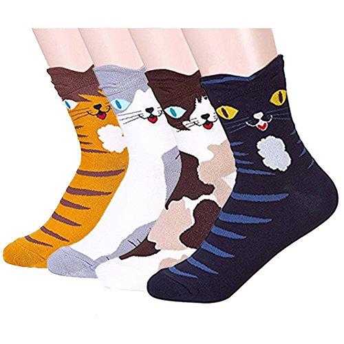LHZY Mujeres calcetines de las muchachas de 4 Pack, Diversión Cool Cats dibujos animados Sweet Animal Design Cotton Blend Tripulación sobre el tobillo