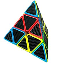 HJXDtech-Cubo mágico irregular con las etiquetas engomadas de la fibra del carbón Juguete profesional del cubo del rompecabezas de la torcedura para los adultos y los cabritos (Pyraminx)