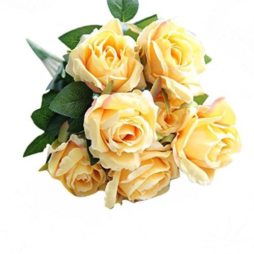 Bovake mazzo di fiori artificiali di nozze di nozze fiori ★     7teste damigella d' onore/sposa foglia rosa matrimonio decorazione floreale bouquet di fiori finti yellow