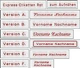 Namensetiketten Etiketten Textil R hochwertige Kleidungsetiketten gewebt mit Ihrem Namen in ROT zum Einnähen 50 Stück EXPRESSANFERTIGUNG FÜR EILIGE / Expressetiketten