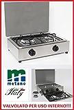 Gaskocher, Tisch aus Stahl Parker 2flammig mit abnehmbarem Plan für die Reinigung Stromversorgung Gas Methan mit Ventile Sicherheit für Verwendung Innen