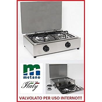 FORNELLO DA TAVOLO PARKER GAS METANO 2 FUOCHI CON VALVOLE ...