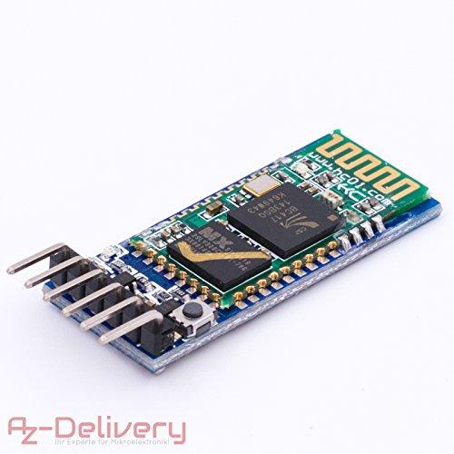 AZDelivery HC-05 Bluetooth Wireless RF-Transceiver-Modul RS232 serielle TTL und HC-06 Drahtlose Bluetooth Serieller Transceiver Modul Slave serielle Kommunikation für Arduino mit Gratis Ebook!