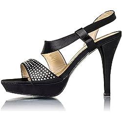 Plateau Damen Schuhe High Heels mit Strass Steinen in Schwarz (37)