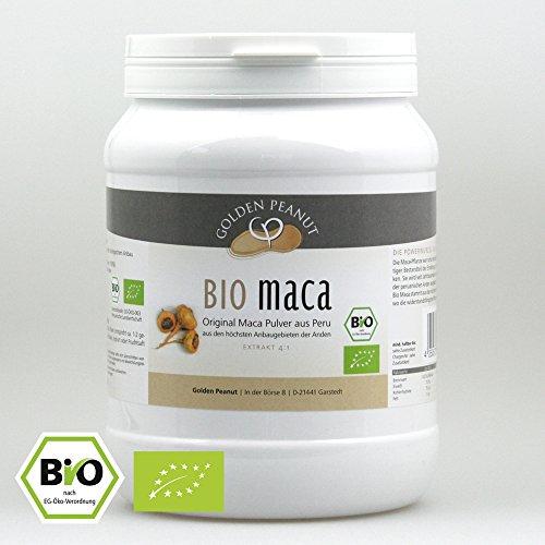 Golden Peanut Bio Maca Pulver 4:1 Extrakt, Premium-Qualität aus Peru, Bio-zertifiziert 1000g