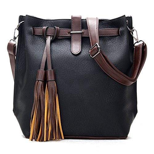 BYD Donna Alta Capacità Borsa Messenger Donna Vintage in finta Pelle Borsa a Tracolla Fashion Borsa Borsetta Messenger Bag(nero)