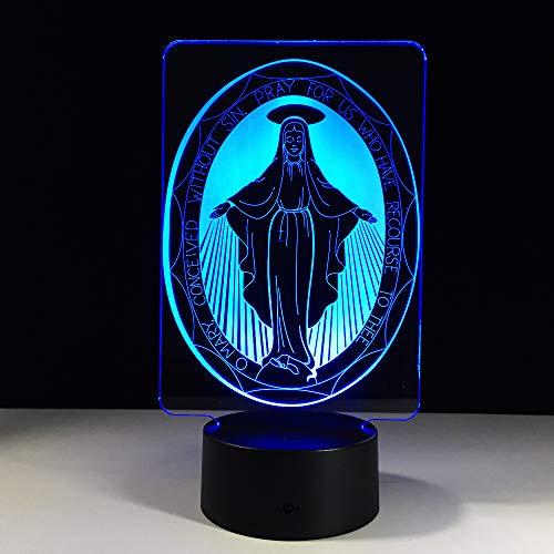 Bbdeng 3D-Nachtlicht Energie Sparen LED-Touch-Farbe Beleuchtung Kreative Kinder Schlafen Tischlampe USB Oder Batterie Madonna Conventional