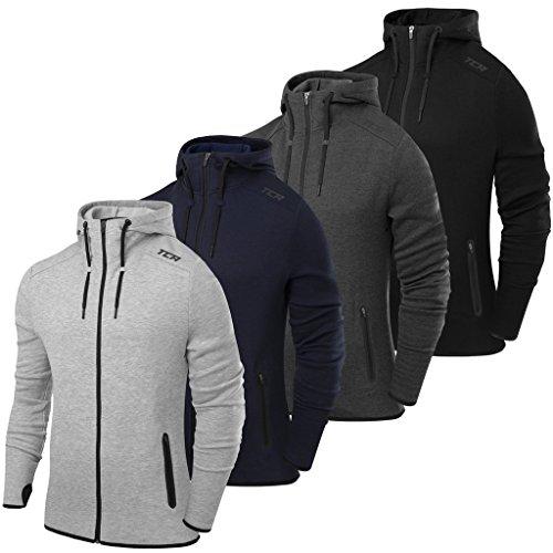 TCA Mens TCA Revolution Tech Hoodie with Zip Pockets - Grey Marl - L