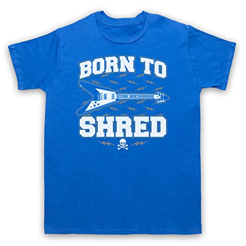 Born To Shred Guitar Love Slogan Herren T-Shirt Blau