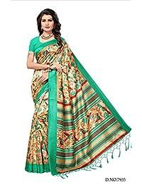 Kimisha Women's Kalamkari Mysore Silk Saree With Blouse Piece (Printed Saree) (Free Size_Beige)