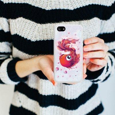 Apple iPhone 4 Housse Étui Silicone Coque Protection Poisson Poisson rouge Bande dessinée Housse en silicone blanc