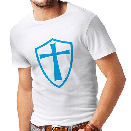 Männer T-Shirt Ritter Templer - Die Templer Schild Christian Ritter Ordnung (XXX-Large Weiß Blau) (Bibel Figur Kostüme Für Kinder)