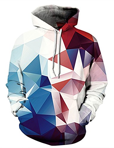 AIDEAONE Damen Pullover 3D Diamond Druck Hoodies Langarm Kapuzenpullover Kapuzenpulli Sweatshirts XL Diamond Hoodie Pullover