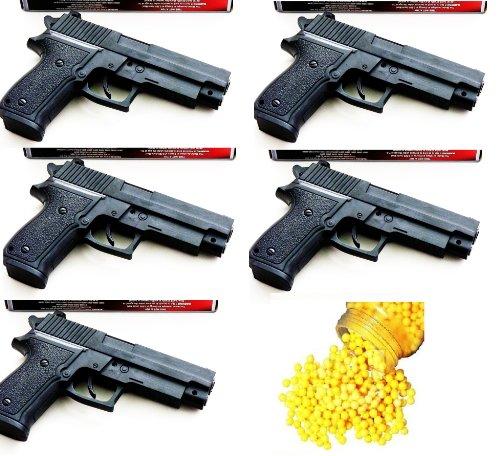 NICK AND BENÂÂ Softair Set mit 5 Pistolen inkl. 1000 Kugeln Softair-Pistole Federdruck 6 mm ca. 16,5 cm lang Kinder-Pistole ABS