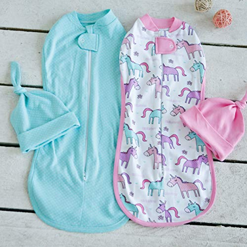 Diva Milano Baby Wickeldecke für Neugeborene und Kleinkinder | 0-6 Monate Pucksack | 4 Stück | atmungsaktiv, für Jungen und Mädchen, 100% Baumwolle (Tiffany, S: 0-3 Monate)