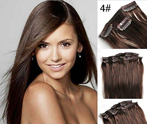 Romantic Angels® Clip In/On Extensions de cheveux humains 10 Pieces Set 100g - 45cm Couleur:brun moyen#4
