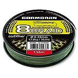 Cormoran Schnur 135 m Spule 0.18 Stärke Corastrong 8- Braid 8 Fach Geflochten aus Coramid, Grün, 32-513518