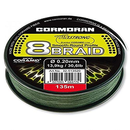 Cormoran Schnur 135 m Spule 0.10 Stärke Corastrong 8- Braid  8 Fach Geflochten aus Coramid, Grün, 32-513510